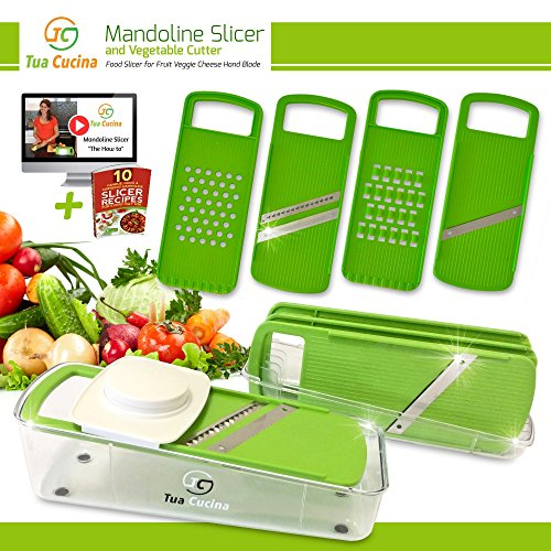 Mandoline Slicer and Vegetable Cutter Best Julienne Food Slicer with Guard for Cooking , Fruit , Veggie , Cheese , Finger Foods , Thin Potato , Safe Hand Steel Blade with Guard (Shredder Slicer compare prices)
