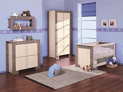 Babyzimmer Kinderzimmer NEW GENERATION Eiche Grau&Creme, Babymöbel Set 4tlg komplett Kleiderschrank 2-turig Babybett Wickelkommode Wandregal
