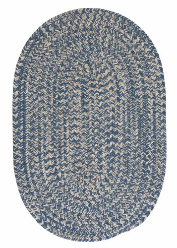 Solid Blue Braided Rug 2' X 10' (2X10 Long Oval Runner) Natural Wool Soft Carpet front-1038212