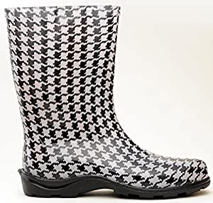 Sloggers 5005HT08 Size 8 Houndstooth Women's Waterproof Rain Boots (Discontinued by Manufacturer)