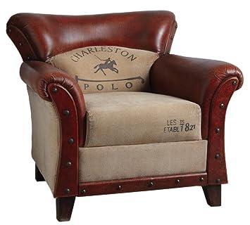 Sillón Club (piel y algodón Charleston polo
