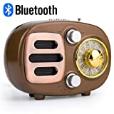 Retro Bluetooth Speaker Radio, Portable AM FM Shortwave Radio with Rechargeable Battery Support USB MP3 Player and TF Card -Gold (Color: Gold)