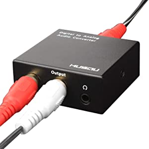 Musou 3.5mm Digital to Analog Audio Converter-Optical S/PDIF Toslink/Coaxial to RCA L/R, 24-bit DAC with Fiber Cables,Black (Color: With 3.5mm Jack)