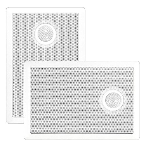 Pyle Pdiw52 In-Wall / In-Ceiling Dual 5.25'' Speaker System, Directional Tweeter, 2-Way, Flush Mount, White (Pair)