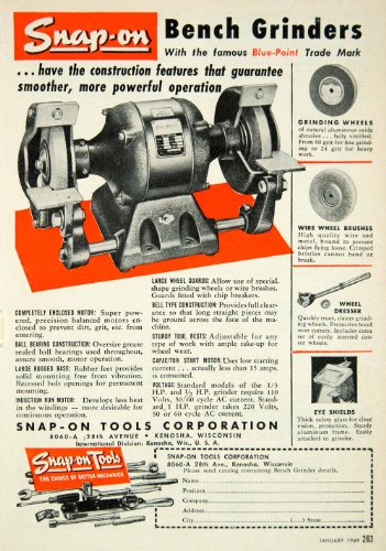 1949 Ad Snap-On Tools Bench Grinder 28th Avenue Kenosha Wisconsin Blue Point - Original Print Ad