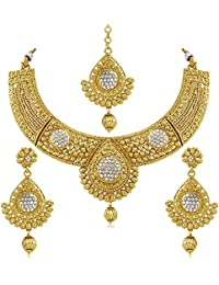 INAYA Alloy Crystal And Yellow Gold Plated Necklace-sets With Gold Chaton Stone, 1 Pair