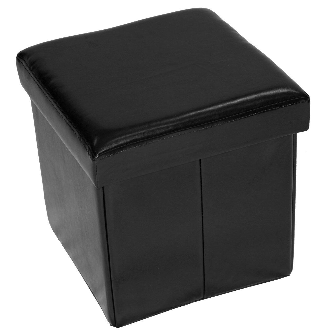 Home furnishings small folding storage ottoman black ebay for Small ottoman storage