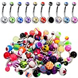 60 Pieces Lot of 10pc Double Gem Belly Button Ring and 50 Mix Piercing Jewelry Rings