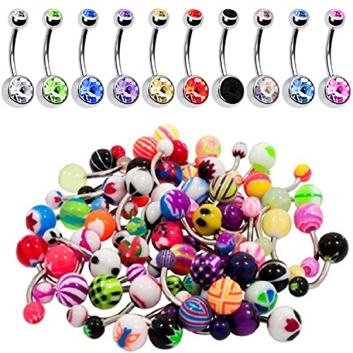 60 Pieces Lot of 10pc Double Gem Belly Button Ring and 50 Mix Piercing Jewelry Rings (Double Gem Belly Ring compare prices)