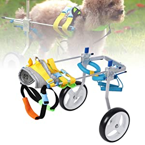 Fdit Adjustable Pet Dog Wheelchair Cart Disabled Dog Assisted Walk Car Pet Hind Leg Exercise Car for Hind Legs Rehabilitation Dog Walk (S) (Tamaño: S)