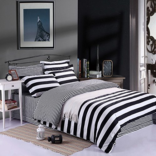 Kuality Super Soft Microfiber Fabric Duvet Cover 3pc Set(1 Duvet Cover, 2 Pillow Shams), Suitable for Comforter/Duvet Insert, Full/Queen Size, Stripe Pattern (How To Get 1000 F compare prices)