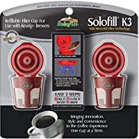2 Solofill K3 Chrome CUP Chrome Refillable Filter Cup for Keurig-r (RED, 2)