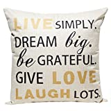 Happytimelol 18 x 18 Cotton Linen Throw Pillow Case Cover with Live Laugh Love Letters Quote Print