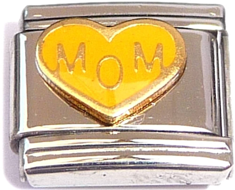 Mom On Yellow Heart Italian Charm Bracelet Jewelry Link