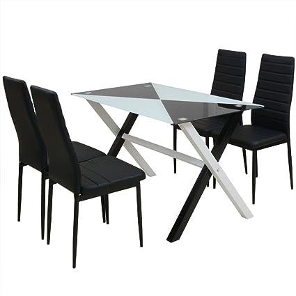 vidaXL Conjunto de Comedor Mesa y Sillas Cinco Piezas Color Blanco y Negro