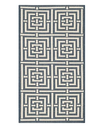 Safavieh Courtyard Indoor/Outdoor Rug, Navy/Beige, 4' x 5' 7