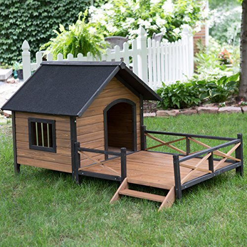 Large-Dog-House-Lodge-with-Porch-Deck-Kennels-Crates-Solid-Fir-Wood-Spacious-Deck-for-Sunny-Nap-Insulated-Keep-Rain-Out-Outdoor-67w-X-31d-X-38h