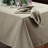 Benson Mills Prego Waffleweave Fabric Tablecloth, Linen/Black, 60-Inch-by-104-Inch