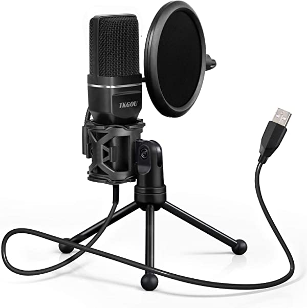 Windows//Mac Metal Condenser Recording Microphone with Pop Filter for Skype Recordings for YouTube USB Microphone Google Voice Search Plug /&Play Computer Microphone Games