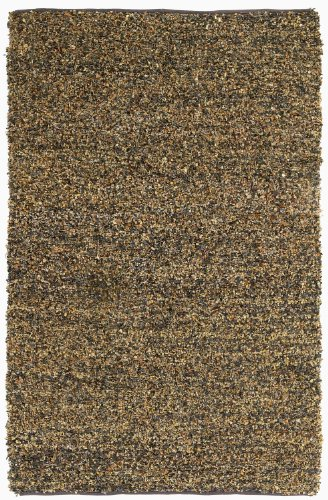 Short Brown Leather Shag 5'x8' Rug