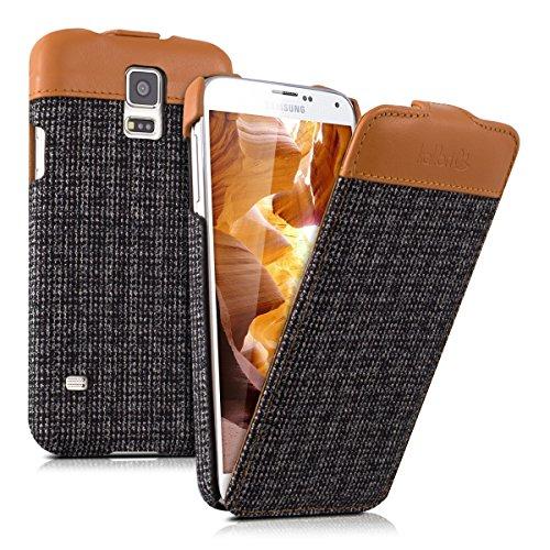 kalibri-Flip-Case-Hlle-Emma-fr-Samsung-Galaxy-S5-S5-Neo-S5-LTE-S5-Duos-Aufklappbare-Stoff-und-Echtleder-Schutzhlle-Tasche-im-Flip-Cover-Style-in-Braun-Anthrazit