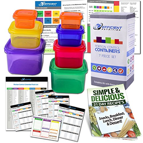 Efficient Nutrition, Portion Control Containers Kit (7-Piece) with COMPLETE GUIDE + 21 DAY PLANNER + RECIPE eBOOK, BPA FREE Color Coded Meal Prep System for Diet and Weight Loss (Food Containers For 21 Day Fix compare prices)