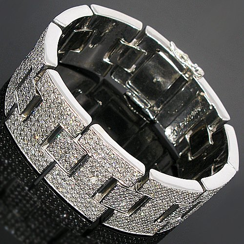 14K White Gold Mens Diamond Bracelet 19.25 Ctw