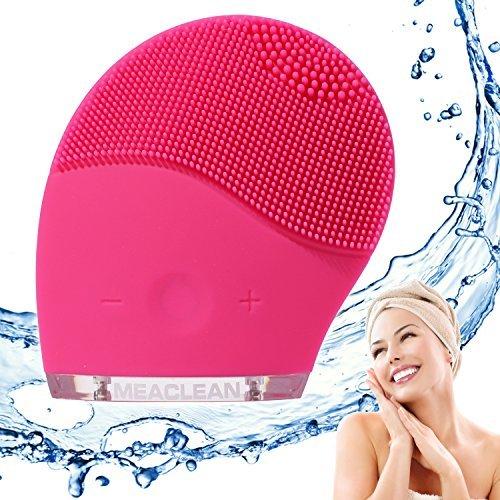 MEACLEAN Mini Brosse Sonique en silicone pour le nettoyage et le massage du visage - action anti-âge - rechargeable