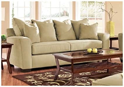 Klaussner Home Furnishings Heather E56044 Sofa Microsuede Celadon