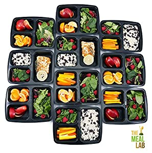 [BONUS-PACK] 10 Premium 3-Compartment BPA FREE Reusable Meal Prep Food Storage Containers with Lids   Bento Lunch Box   Stackable Portion Control Set with Plate Dividers for 21 Day Fix + FREE Cutlery