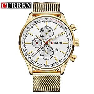 CURREN New Fashion Men's Quartz Date Stainless Steel Strap Wrist Watch 8227G