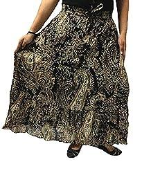Cotton Breeze Womens Cotton Long Skirt (FP348, Black)
