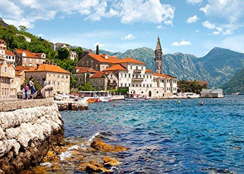 Puzzle 1000 Teile - Stadt Perast in Montenegro - Berge Gebirge Landschaft Tal - Landschaftspuzzle Bucht von Kotor Altsdtadt See Küste