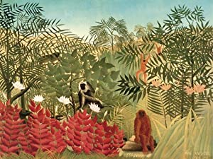 Posters: Henri Rousseau Poster Art Print - Tropical Forest With Monkeys, 1910 (32 x 24 inches)