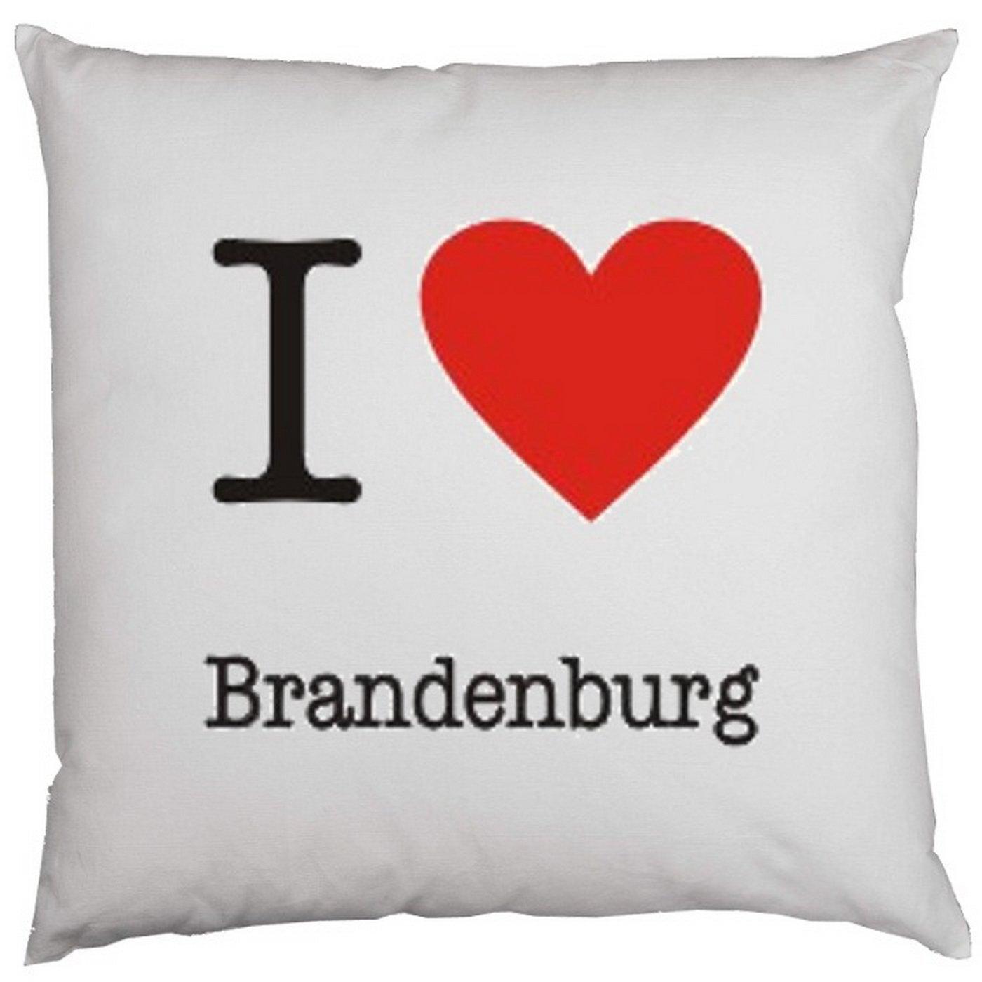Kissen mit Innenkissen – I love Brandenburg – mit 40 x 40 cm – in weiss : ) günstig