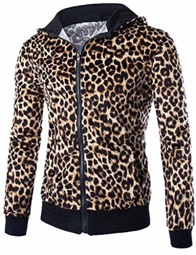 Mens Punk Leopard Hooded Sweatshirt