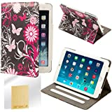 32nd® Design book wallet PU leather case cover for iPad Mini (original and iPad Mini 2 with retina display) + screen protector and cloth - Gerbera