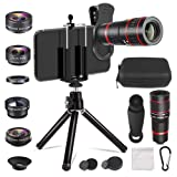 Aokin Phone Camera Lens Kit, 6 in 1 Cell Phone Camera Lens, 20x Telephoto Zoom Lens/Wide Angle/Macro/Fisheye/CPL Lens Clamps Strong Tripod Portable Package for iPhone Android and Tablets (Color: 6 in 1 Phone Camera Lense Kit, Tamaño: 20x Telephoto Zoom 6 in 1 Phone Lens)