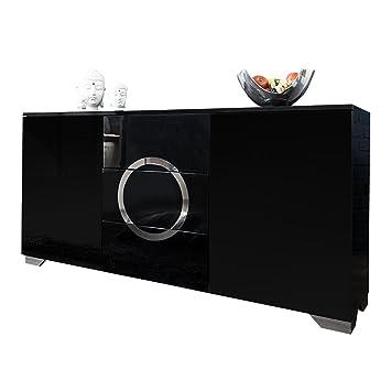 Exklusives Sideboard ZEN Hochglanz schwarz 160cm mit Edelstahl Applikationen