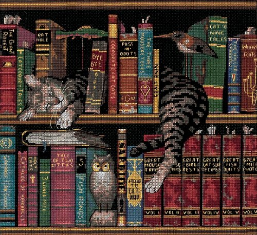 frederick the literate cat cross stitch kit