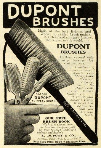1908 Ad E. I. Du Pont De Nemours Brushes Bristles Hair Teeth Facial Hand Clothes - Original Print Ad