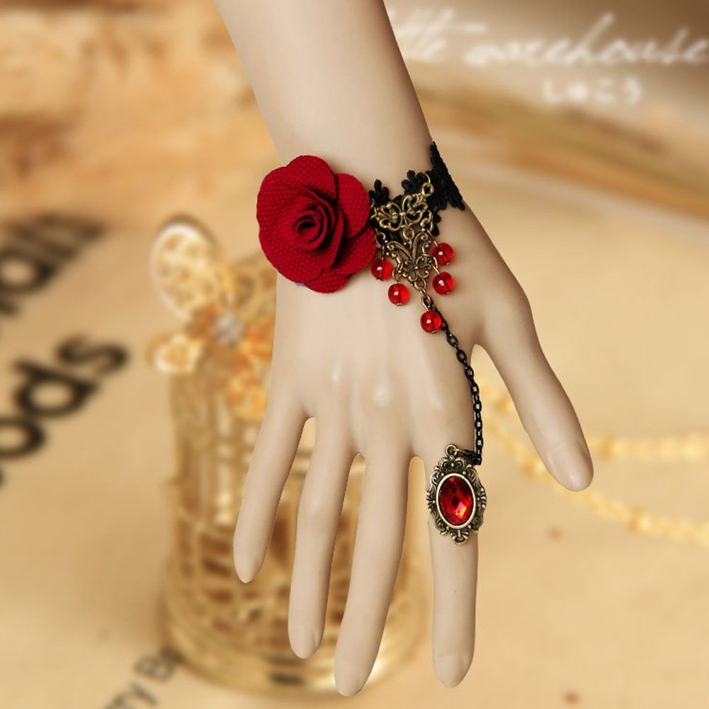 Autofor Black Lace Red Rose Bracelet with Red Diamond Ring Gothic Bracelet Wedding Jewelry Cosplay Decoration Vampire Decoration