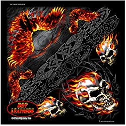 """Hot Leathers Signature Bikers Bandanas Collection Original Design, 21"""" x 21"""" - BANDANA BURNING SKULL EAGLE by Officially Licensed & Trademarked Products"""