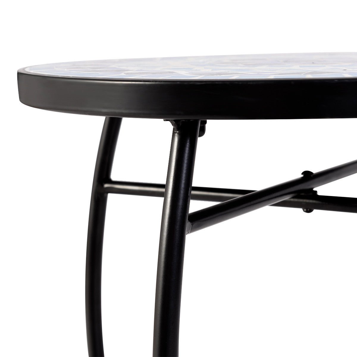 Accent Table Plant Stand Cobalt Blue Color Scheme Garden Steel Outdoor Indoor
