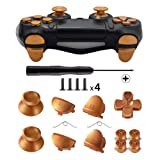 TOMSIN Metal Buttons for DualShock 4, Aluminum Metal Thumbsticks Analog Grip & Bullet Buttons & D-pad & L1 R1 L2 R2 Trigger for PS4 Controller Gen 1 (Gold) (Color: Gold)