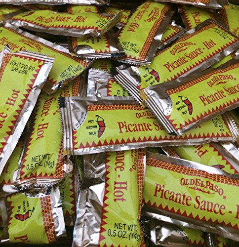 Old El Paso Picante Hot Sauce Packets - 100 Packets .5 Oz. Each (14 Grams) (Portion Control Sauce compare prices)