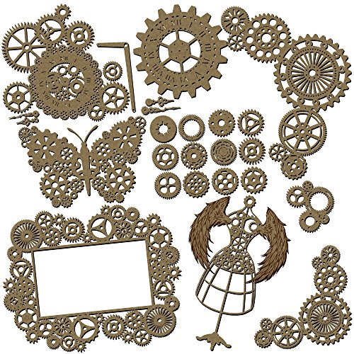 Steampunk Scrapbook Embellishments Collection #2 - 25 Piece Laser Cut Chipboard Set