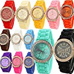 Women's Geneva Golden Crystal Silicone Quartz Ladies Jelly Wrist Watch