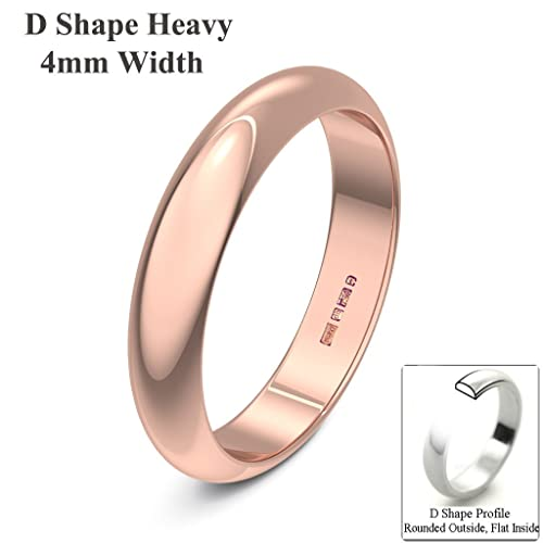 Xzara Jewellery - 9ct Rose 4mm Heavy D Shape Hallmarked Ladies Gents 3.2 Grams Wedding Ring Band