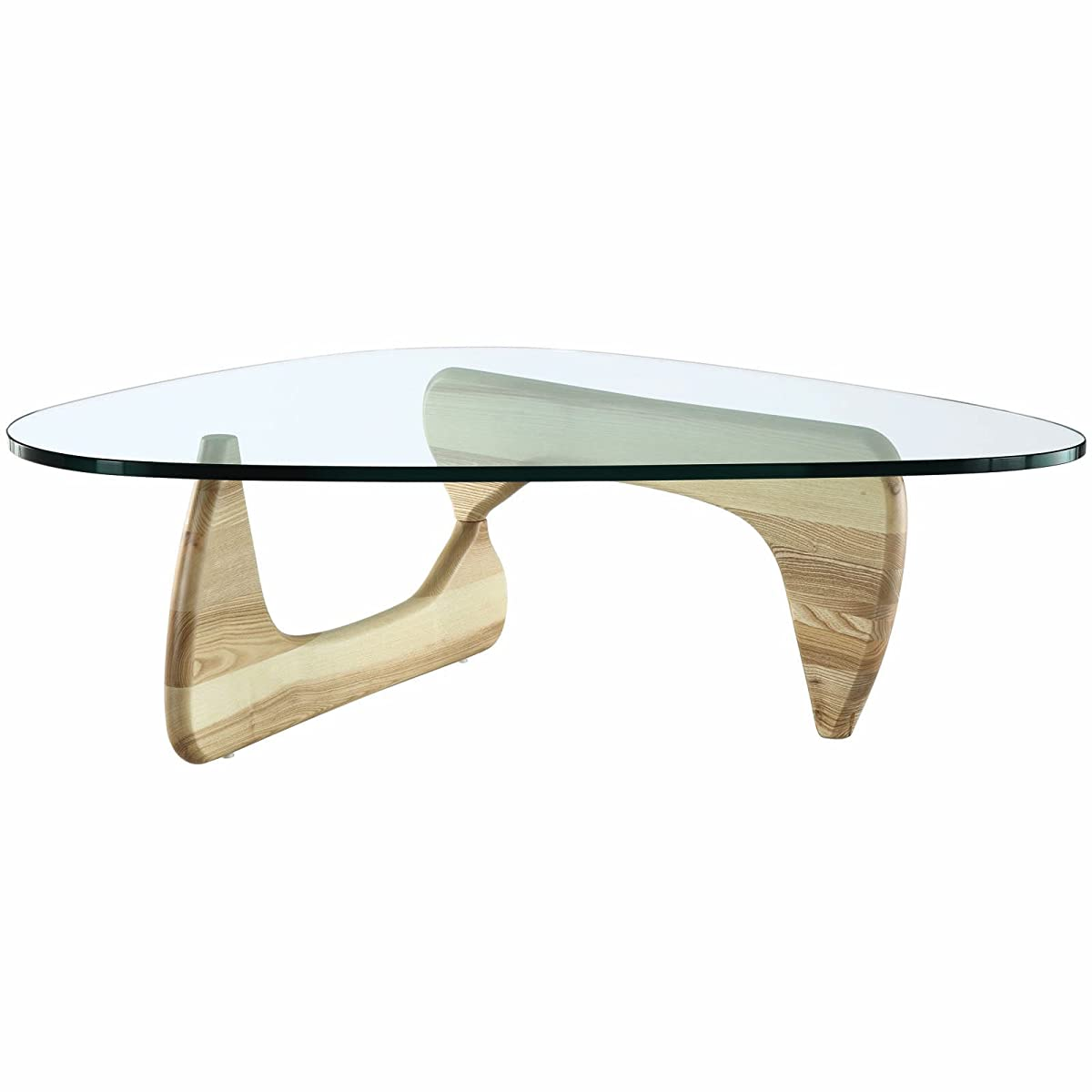 EMODERN FURNITURE eMod - Noguchi Coffee Table Triangle Glass Top Natural Base